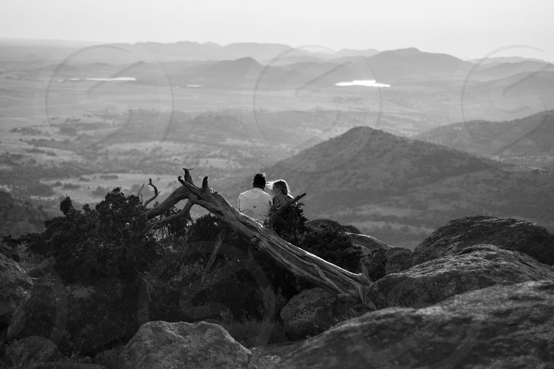 Couple mountain black and white sunset love photo