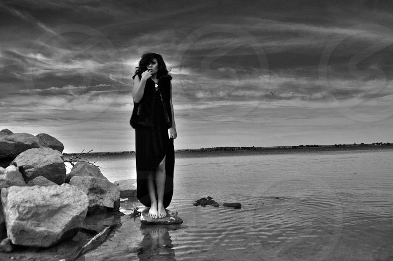 Dark gypsy on the lake...the sky opens to her photo