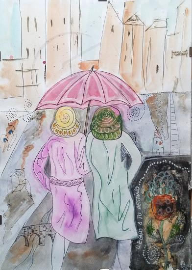 mixed media A3 format umbrella women rain friendship photo