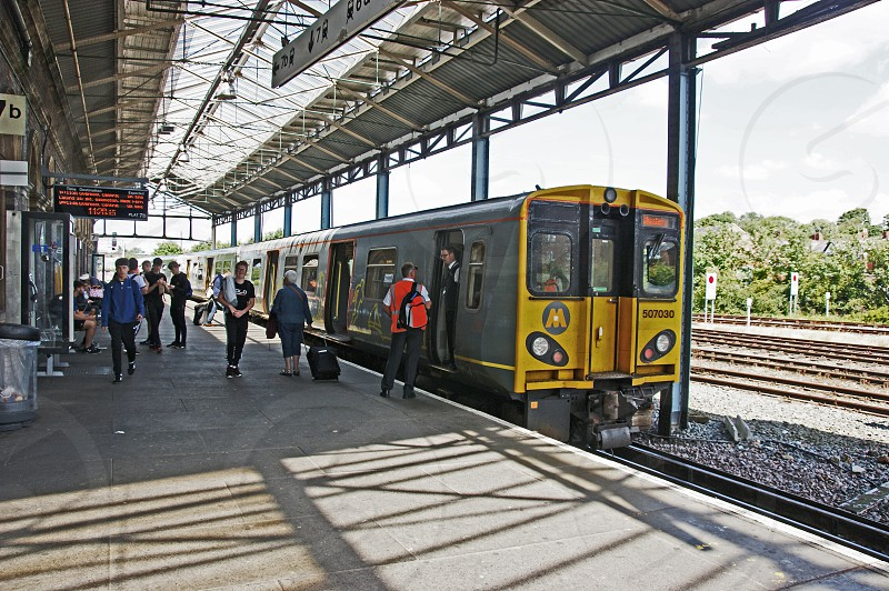 12/07/17  CHESTER. Merseyrail 507030 at platform 7 with the 11.31 service to Liverpool Central via Biirkenhead and the Wirral Loop Line under Liverpool city centre. platform 7 at Chester is currently the only platform equipped with the 3rd rail supply for Merseyrail services. photo