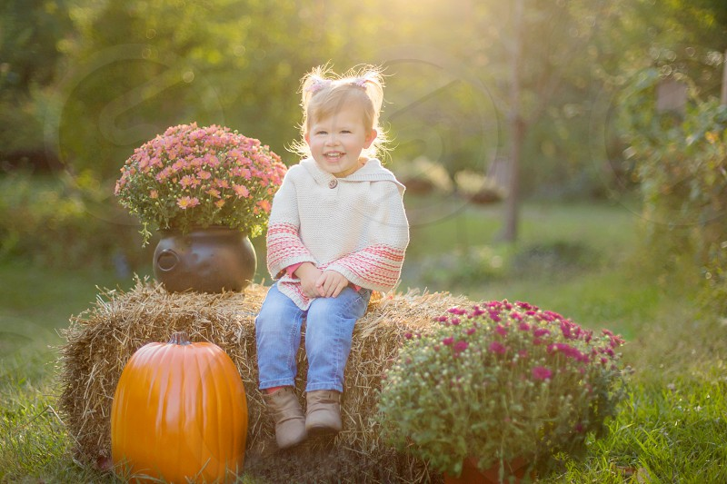 Toddler Girl Sitting on a Haybail with a Pumpkin and Mums photo