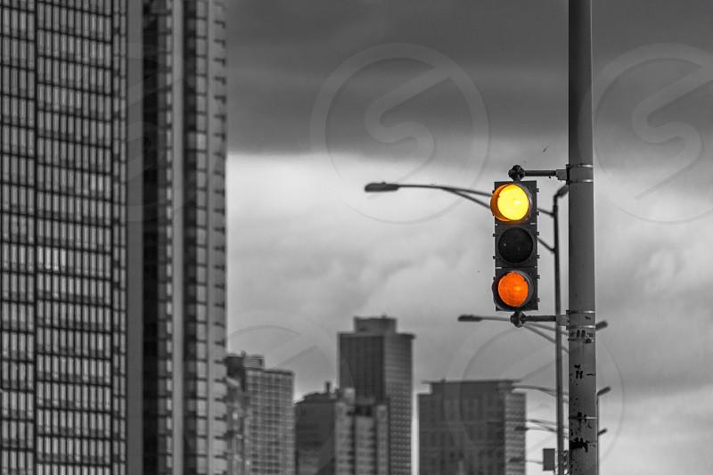 Chicago city cityscape storm clouds skyscraper stop light traffic black white B&W photo
