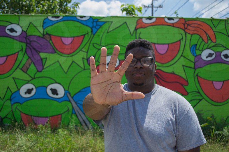 Portrait Black man graffiti photo