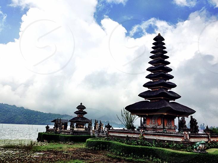 Bedugul Bali Tourism Area Lake Bedugul Public View Traditional Temple Religious   photo