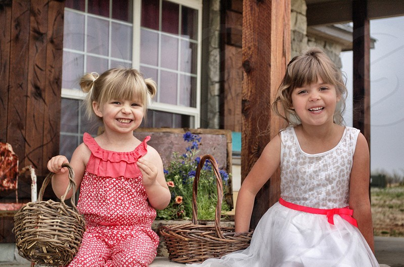 My daughters on my front porch photo