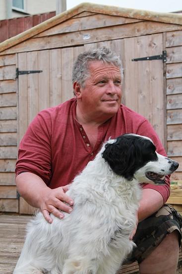 Dog and owner bonding photo