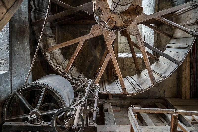 Huge Geared Hoist in Daniel Tower St George's Church in Nordlingen photo