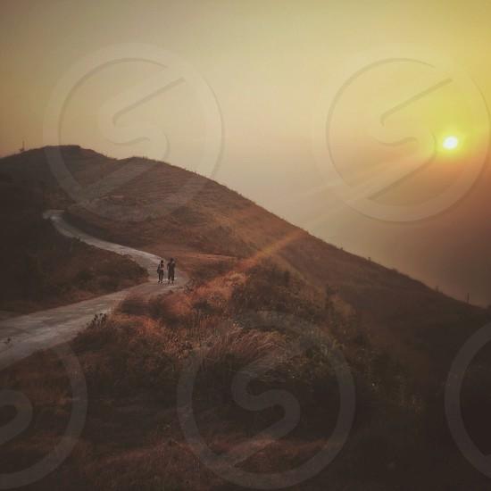 winding road on mountain photo