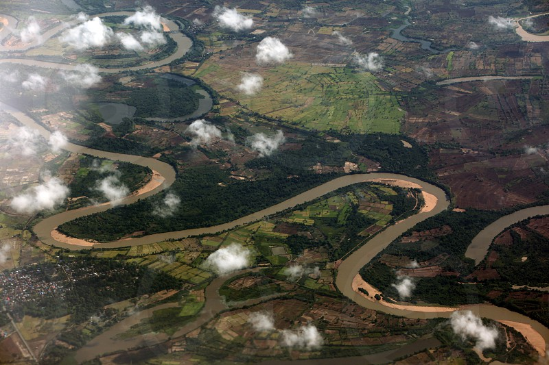 the landscape with a river near the city of ubon ratchathani in the Region of Isan in Northeast Thailand in Thailand. photo