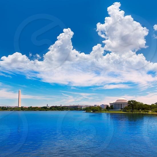 Thomas Jefferson and Washington memorial in District of Columbia USA photo