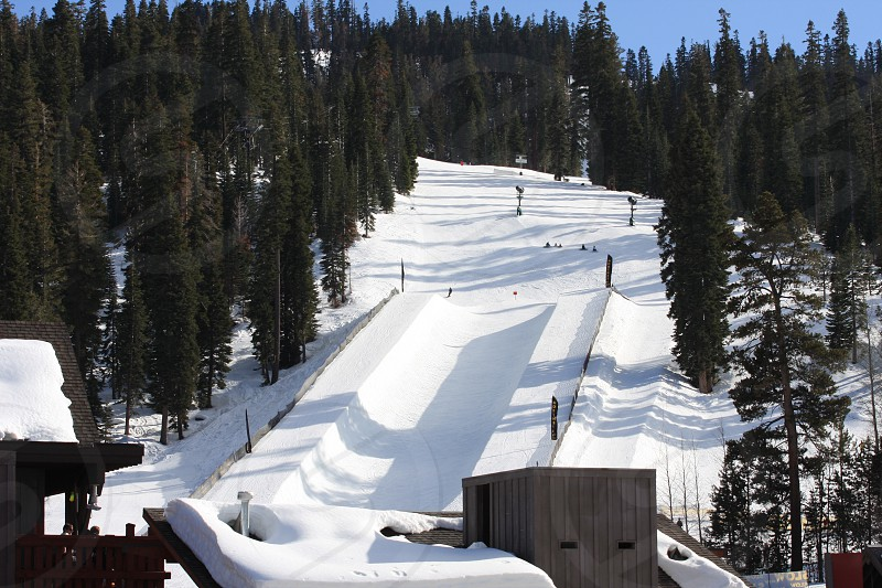 Entering the half pipe! Skiing Slopes Lake Tahoe photo