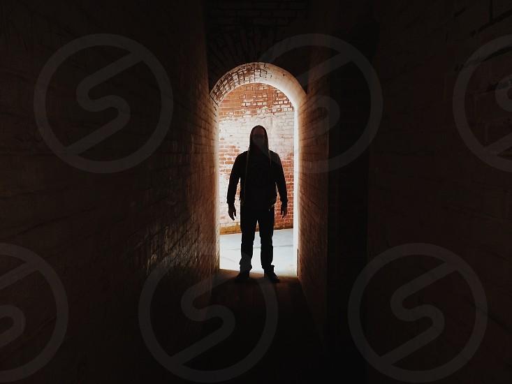 men's black hoodie jacket photo