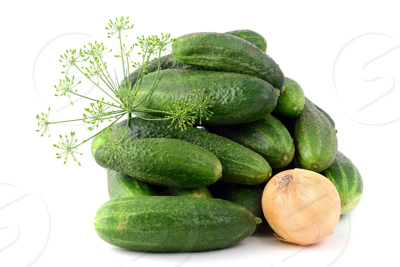 raw cucumbers with herbs like dill and onions. photo