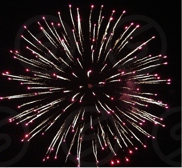 white and red fireworks photo