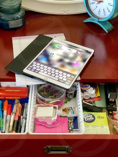 Back 2 School Request School Supplies And iPad On A Desk Pens Sticky Nites Markers School Supplies  photo