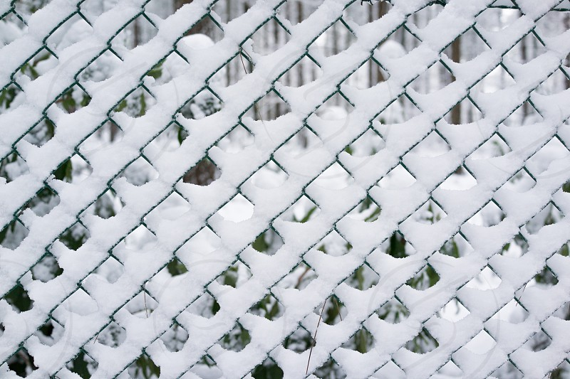 Snow on a fence pattern photo
