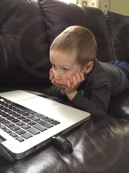 Kid. Child. Work. Computer. School  photo