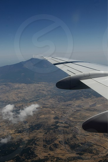 the air view allround the east part of Sicily near the Town of Catania in Sicily in south Italy in Europe. photo