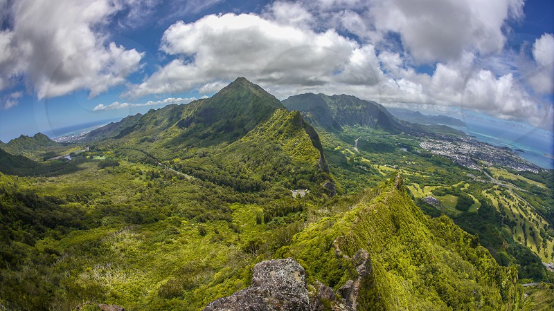 Hawaii Oahu island from the Pali ridge photo