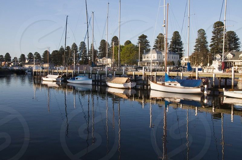 Moyne River Port Fairy in South West Victoria on the scenic Great Ocean Road. photo