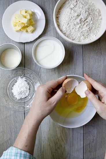 Preparing scones for a tea time treat photo