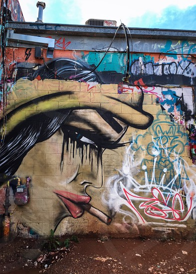 Outdoor day vertical colour colourful art graffiti street art cartoon face woman smoking cigarette lashes mascara lips wall urban art alley Rapid City South Dakota SD USA America North America travel tourism tourist photo