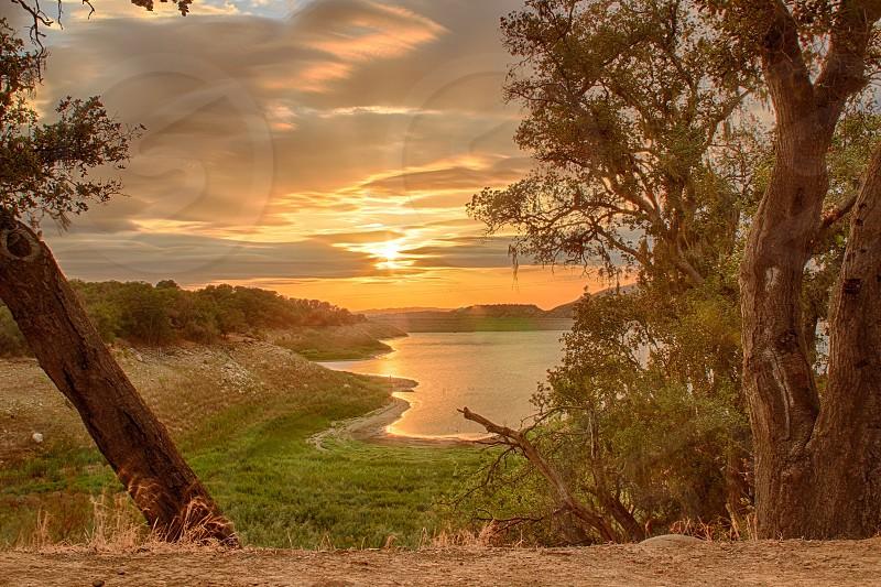 Landscape nature outdoors outside wilderness lake water pond sunset beautiful  photo
