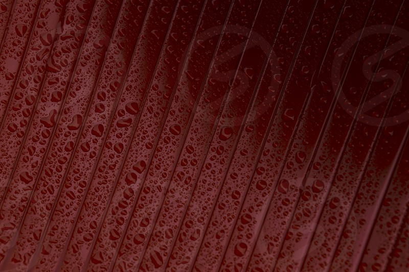 Macro close up of water droplets on full frame red plastic background photo