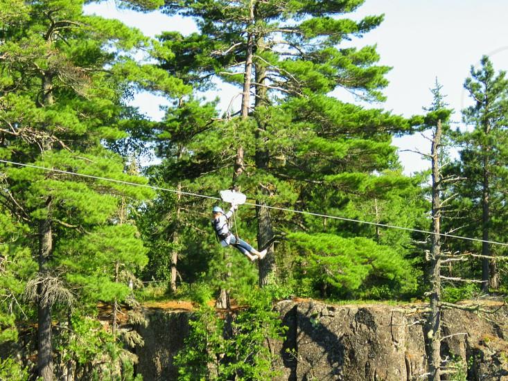 Ziplining through Eagle Canyon Canada. Adventure.  Summer fun. Dreams. Landscape. photo