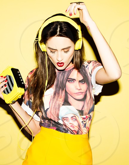 Olga and her walkman clutch photographed in San Diego CA. photo
