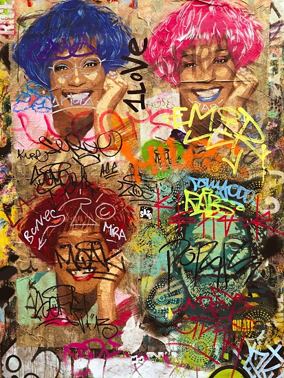 Barcelona wall art face graffiti photo