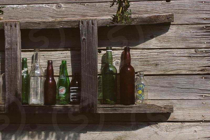 Bottles ladder wood old wood  photo