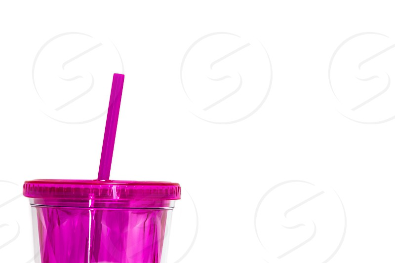 Pink Plastic Straw and Re-Usable Drink Glass Container photo
