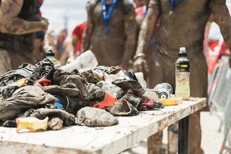 Dirty clothes after a sport extreme test photo