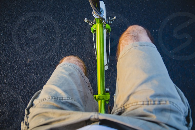 Riding a bike on the road. Original point of view (POV). photo
