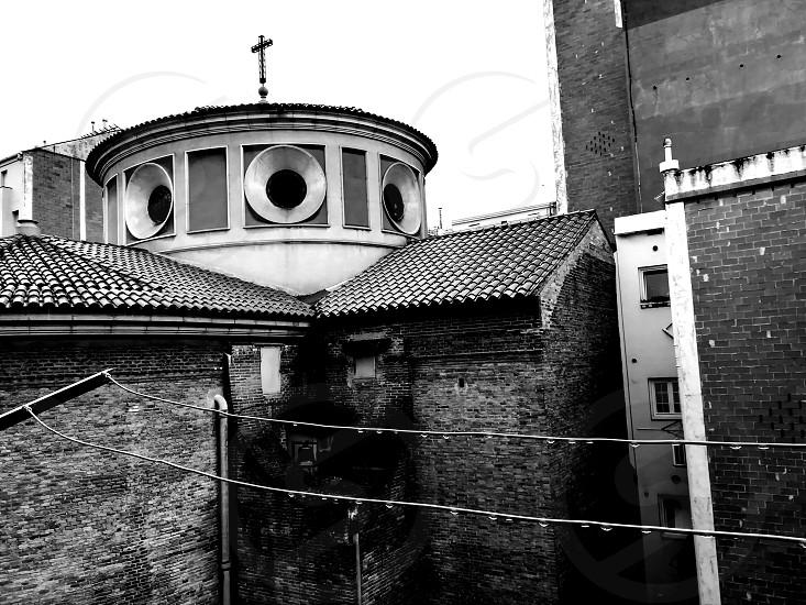 Barcelona temple rainyday blackandwhite photo