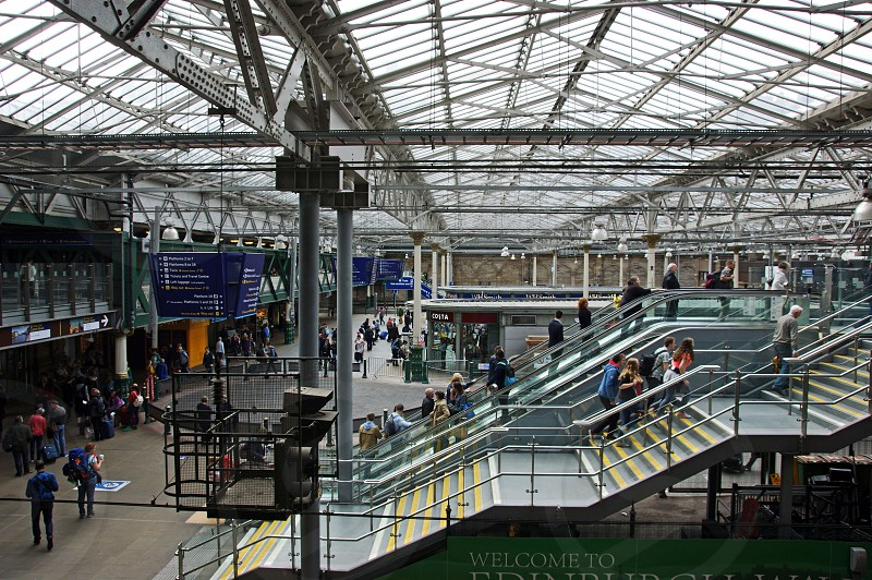 SCOTLAND. Edinburgh Waverley station looking across the station concourse. photo