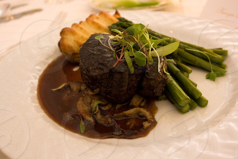 Steak Au Poivre from Bel Air Hotel in Los Angeles photo