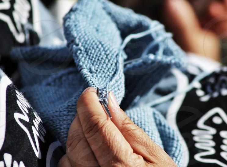 blue textile photo
