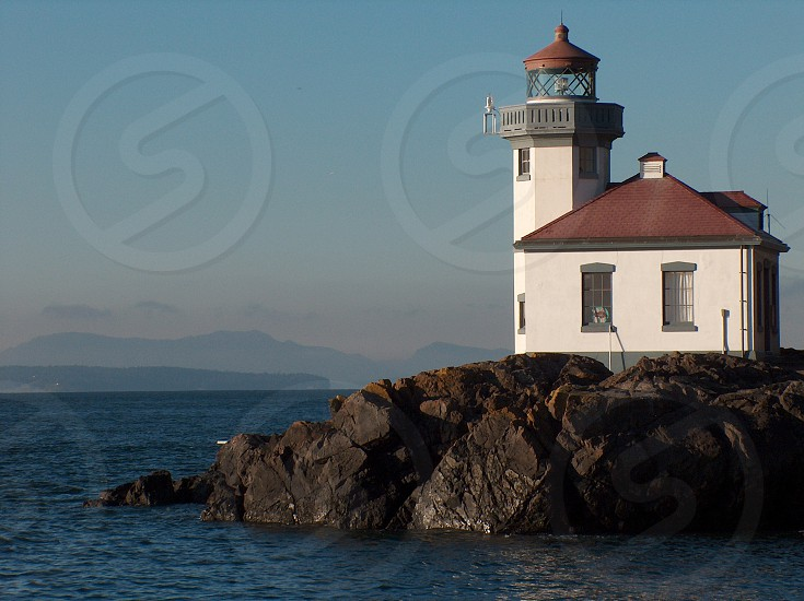 A beautiful lighthouse at Lime Kiln Point State Park on San Juan Island Washington state photo