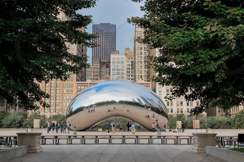 Cloud Gate sculpture in Millennium Park Chicago from a distance photo