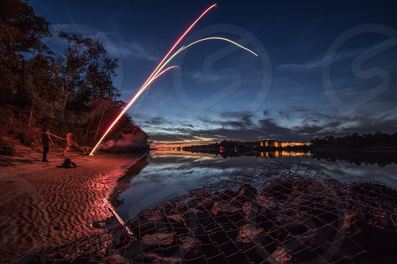 2016 new year fireworks sunset  photo