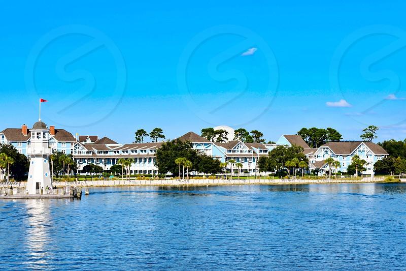Orlando Florida. February 09 2019 Panoramic view of lighthouse and Village Hotel at Lake Buena Vista area  (2) photo