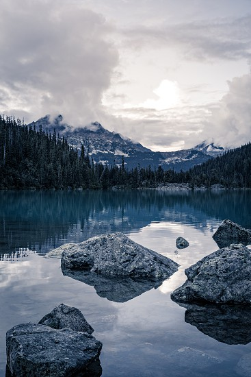 Scenic Mountain view of Mount Cayoosh and Upper Joffre Lake at sunset in British Columbia Canada photo