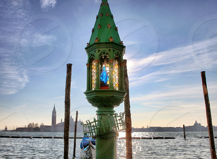 Venezia Italy  lamp lamppost light street citywater  photo