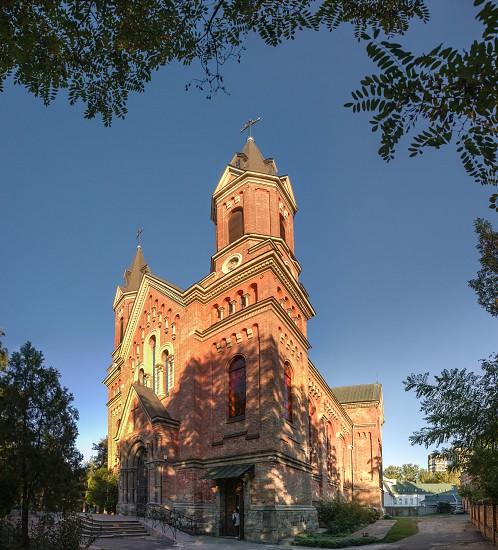 Nikolaev Ukraine - 10.06.2018.  Catholic church of St. Joseph in Nikolaev in a sunny day photo