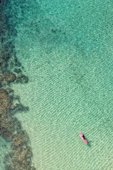 Paddleboard reef clarity surf ocean alone Hawaii Oahu tourism photo