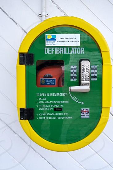 EASTBOURNE EAST SUSSEX/UK - NOVEMBER 4 : View of  a defibrillator on Eastbourne Pier in East Sussex on November 4 2018 photo