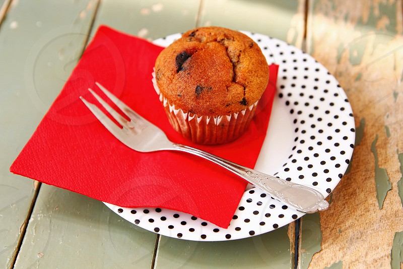 Muffin on a red napkin photo