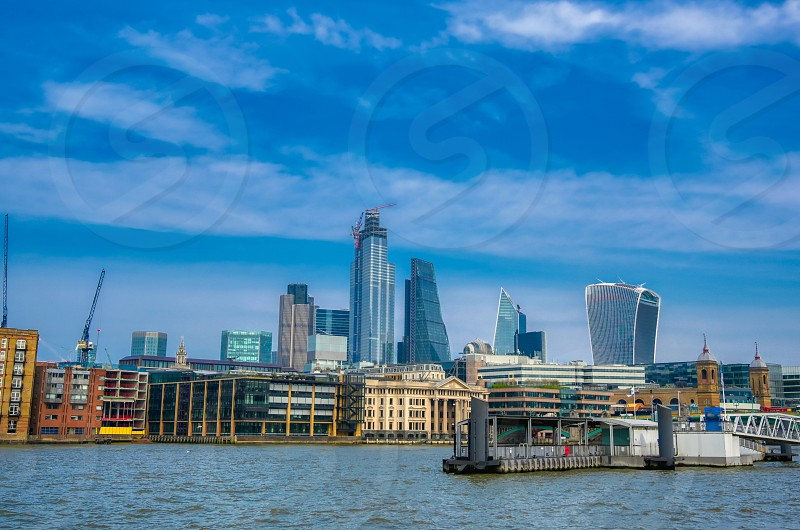 A view of the London skyline across the River Thames in London UK. photo